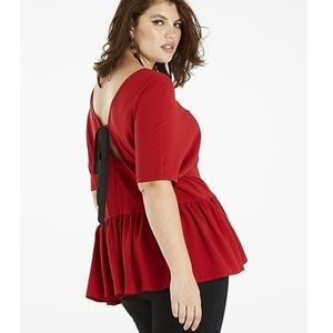 Size 20 Simply Be Soft Peplum Top W/Bow Back